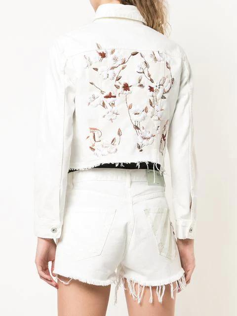 Off-White Floral-Embroidered Denim Trucker Jacket In White
