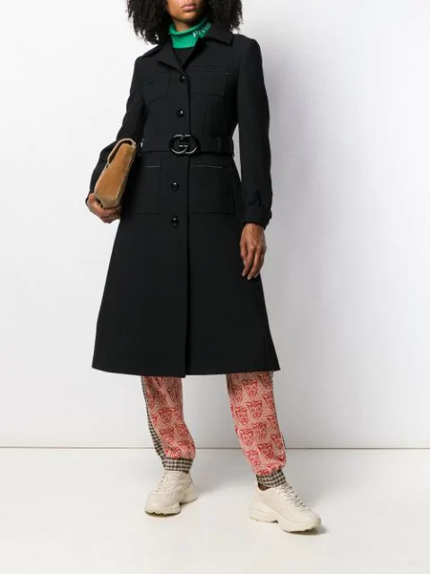8601594d Gg Belted Wool Natté Coat in Black