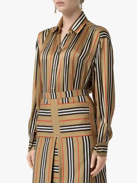 Burberry Vertical Check Printed Silk Twill Shirt In Brown