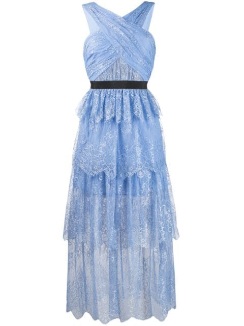 Self Portrait Tiered Lace Midi Dress In Blue Modesens