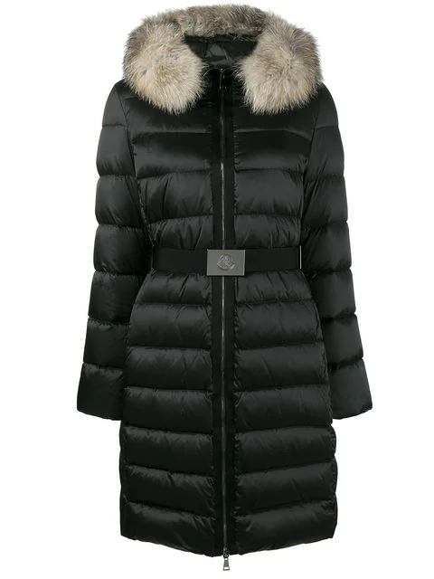 ba055a1a1 Tinuviel Shiny Quilted Puffer Coat W/Fur Hood in Black