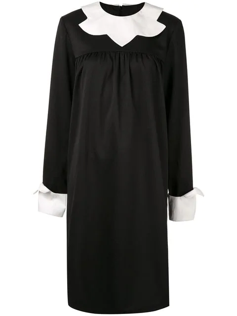 Midikleid Im Schuluniform Look in Black