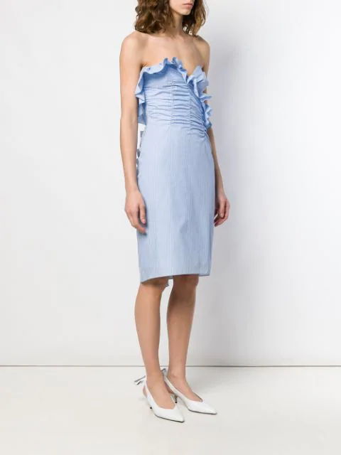 Alexa Chung Strapless Ruched Cotton Mini Dress In Blue