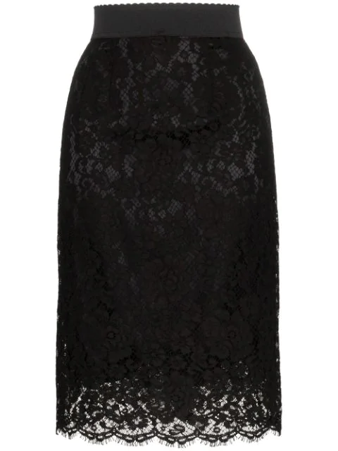 Dolce & Gabbana Floral-Lace Pencil Skirt In N0000 Black