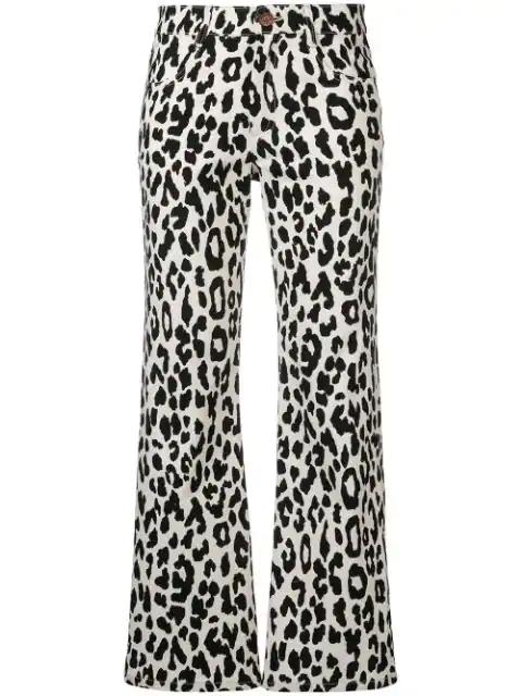 gute Qualität heißer Verkauf online 2018 Schuhe Cropped-Hose Mit Leopardenmuster in White