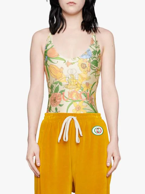 Gucci Floral One Piece - White