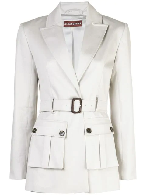 Alexa Chung Belted Tailored Jacket In Grey | ModeSens