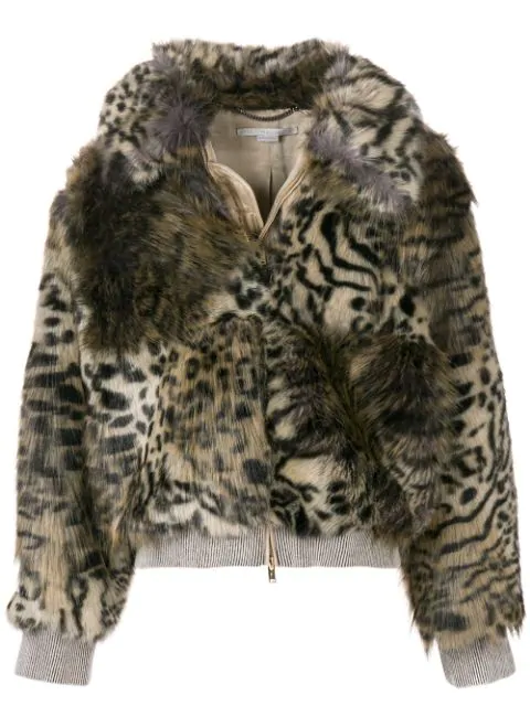 756da887ae5b0 Stella Mccartney Leopard Print Faux Fur Jacket In Beige In Black. Farfetch