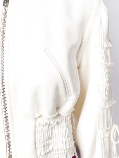 351a67245 Shirred Cropped Crepe Bomber Jacket in White