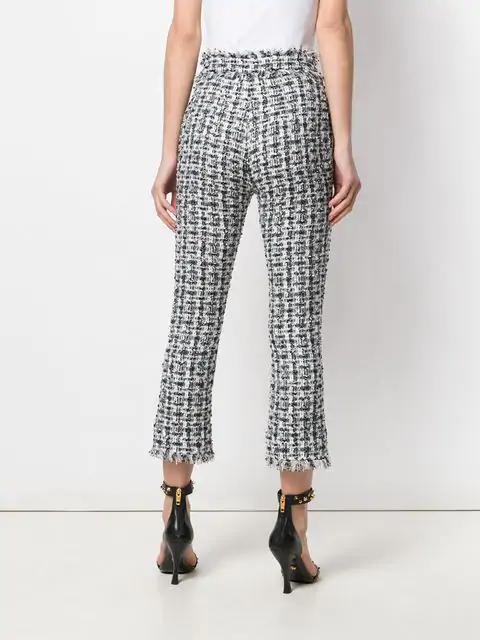 Balmain Cropped Button-Embellished Tweed Bootcut Pants In Blue