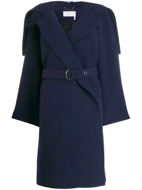 8054bbe6 Wrap-Front Belted Coat in Blue