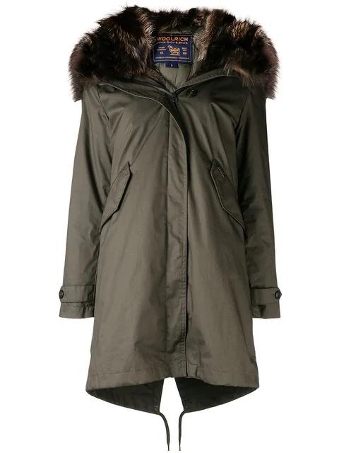 aaecba93c93 Woolrich Fur-Trim Hooded Parka Coat - Green