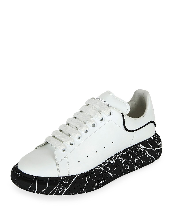 Alexander Mcqueen 'Oversized Sneaker' In Leather With Paint Splat Outsole In 9061 White