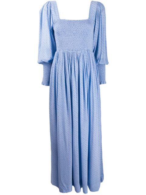 Kleid Blau In Mit Ganni Blumenmuster Brokat Blue fgY67by