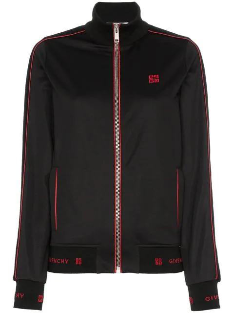 57de6825fffa2 Givenchy Zip-Front Velvet Side-Stripe Gg-Logo Tech Jersey Track Jacket In
