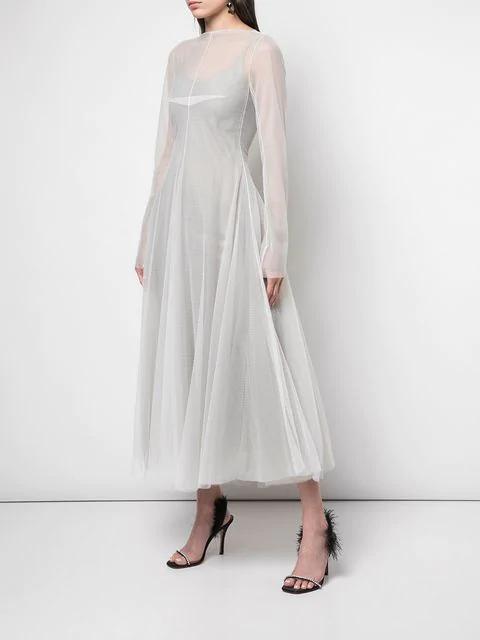 Marc Le Bihan Tulle Midi Dress - White