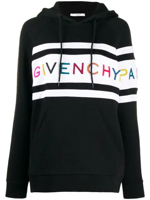 Givenchy Multicolour Logo Embroidery Two-Tone Hoodie In 004 Black