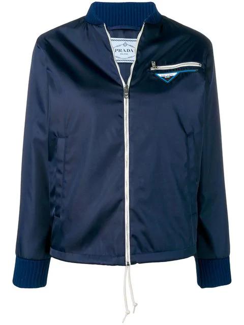f949dbf3d Prada Logo Patch Bomber Jacket - Blue