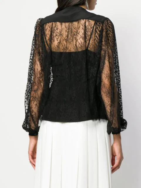 Givenchy CrÊPe-De-Chine-Trimmed Lace Blouse In 001 Black