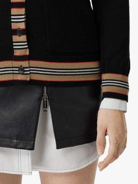 Burberry Icon Stripe Detail Merino Wool Cardigan In Black