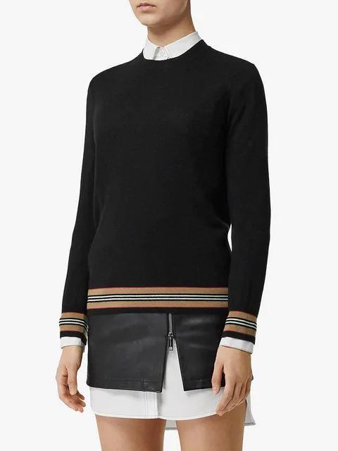Burberry Icon Stripe Detail Merino Wool Sweater In Black