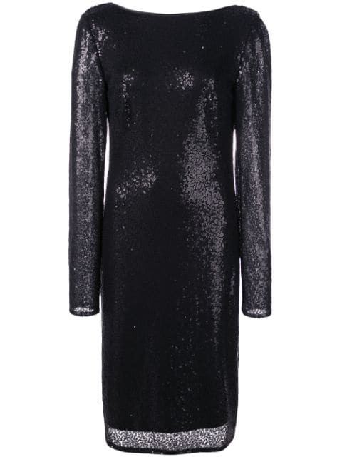Sequined Cowl Back Dress In Black