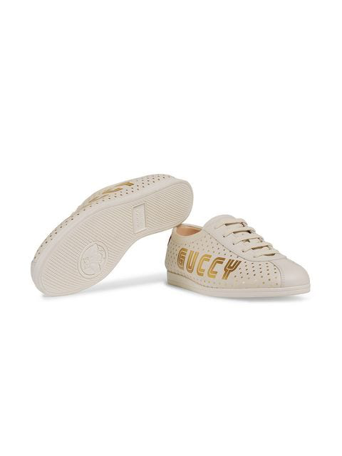 Gucci Women's Falacer Leather Print Low Top Lace Up Sneakers In White