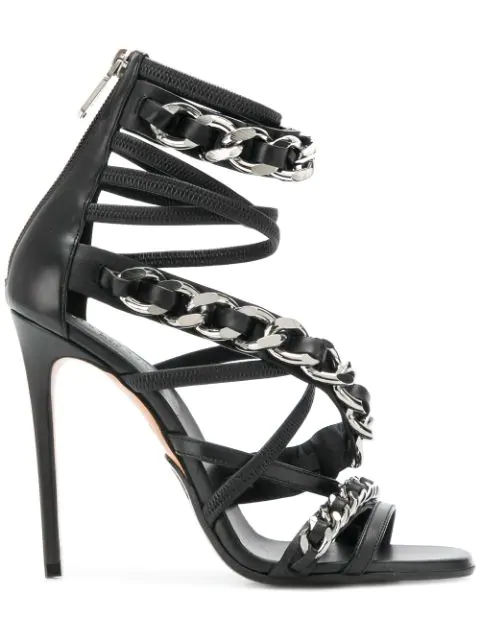 Shaved stilletto heels chained