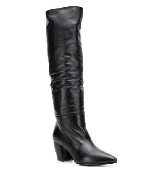 Prada Black Leather Knee Boots - Nero