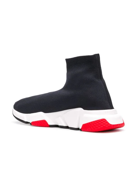 Balenciaga Men's Speed Mid-Top Trainer Sock Sneakers, Black/Red