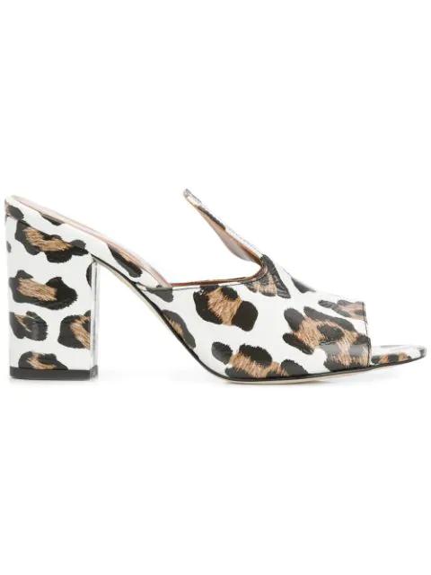 8e93720e5f7 Paris Texas Leopard Heel Mules - White