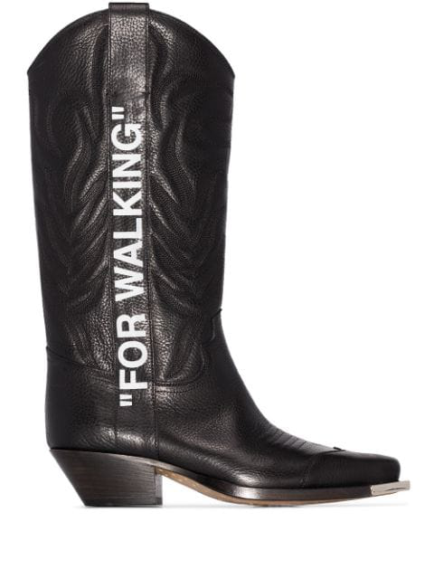 Off-White For Walking Embroidered Printed Textured-Leather Knee Boots In Black