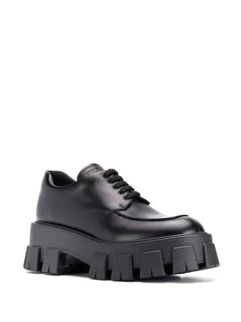 Prada Leather Shoes With Tank Sole/Spazzolato Rois Fondo Tasselli In F0002 Black