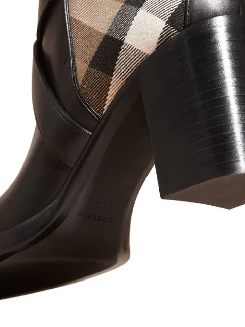 Burberry Women's Vaughan Vintage Check & Leather Block Heel Booties In Black