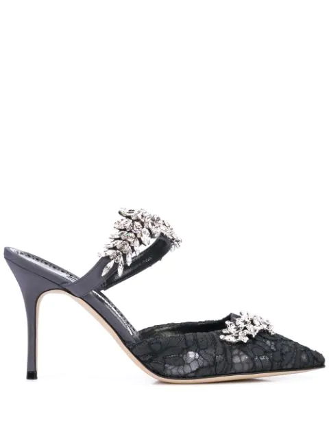 12f16a1d2d512 Manolo Blahnik Lurum Lacy Jeweled Silk Pumps In Grey | ModeSens
