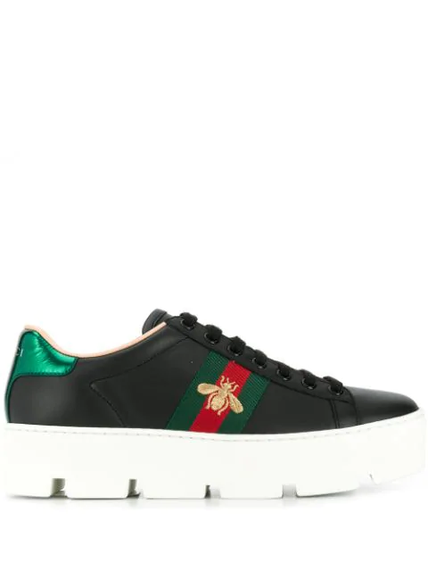 Gucci Sneaker Low New Ace  Kalbsleder  Logo Schwarz In Black