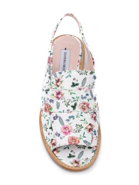 Leandra Medine Floral Print Sandals - White