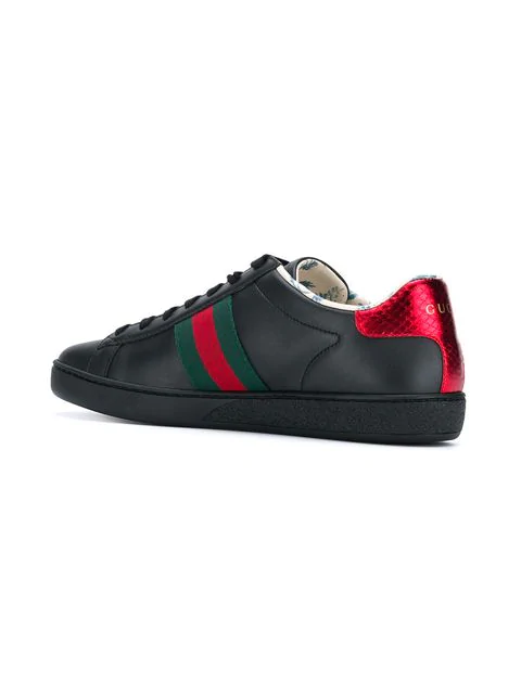 Gucci New Ace Guccy Leather Sneaker In 1088 Black