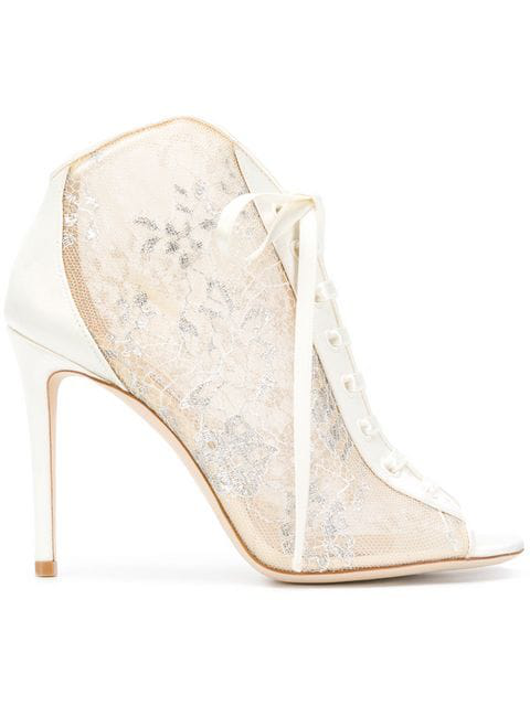 e5e960bbf3674 Jimmy Choo Freya Lace-Up Metallic Embroidered-Tulle And Satin Ankle Boots  In Neutrals