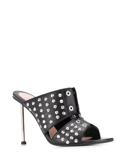 Alexander Mcqueen Studded Leather Slide Sandals In Maq.1081