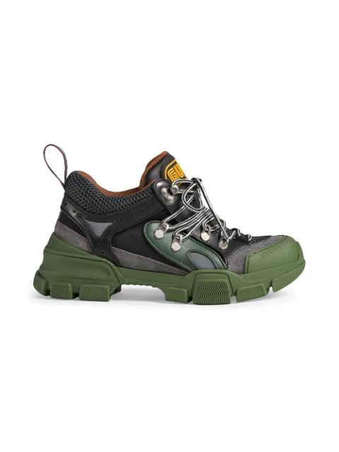 Gucci Flashtrek Embellished Logo-Embossed Mesh, Leather And Suede Sneakers In Black