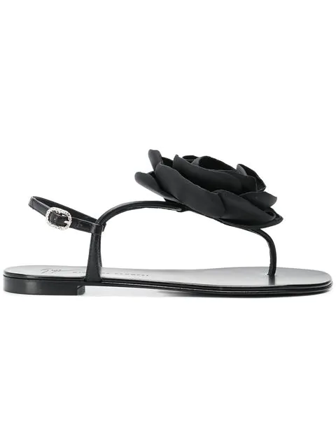 5e146ba48994f Giuseppe Zanotti Flower Embellished Flat Sandals In 001 Nero | ModeSens
