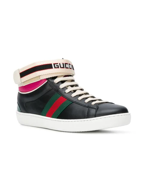 Gucci New Ace High Top Sneaker With Genuine Snakeskin Trim In Black