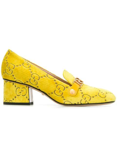f2e84989d Gucci Sylvie Gg Velvet Mid-Heel Loafer In Yellow | ModeSens