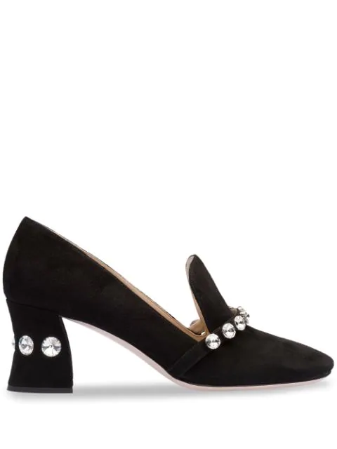 check out 3f681 4dd8f Women's Calzature Donna Embellished Block-Heel Loafers in Black