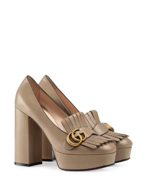 Gucci Leather Platform Pump With Fringe In Brown