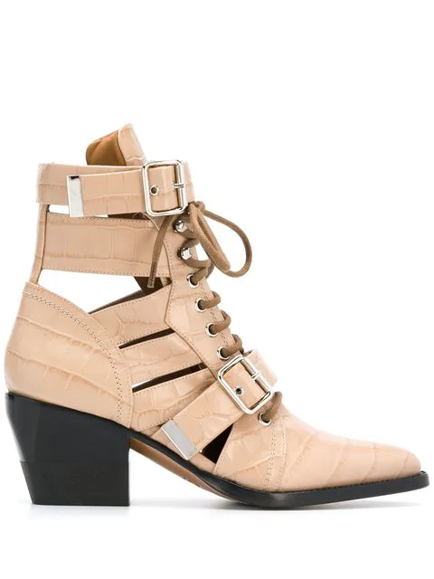 7eb32f9224afc ChloÉ Rylee Croco Cutout Block-Heel Lace-Up Combat Boots In Neutrals ...