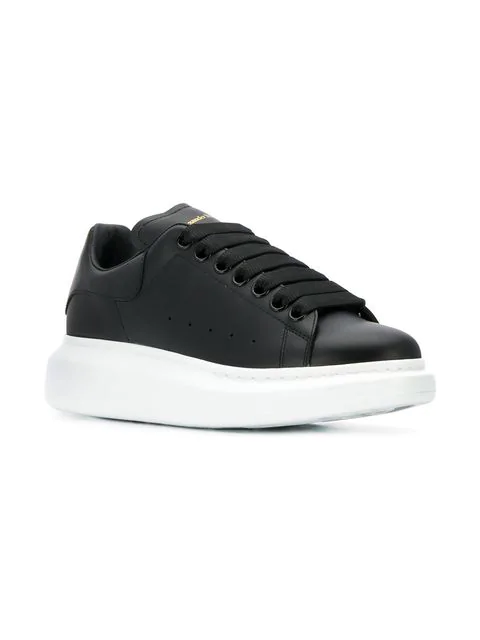 Alexander Mcqueen Runway Leather Platform Trainers In Black