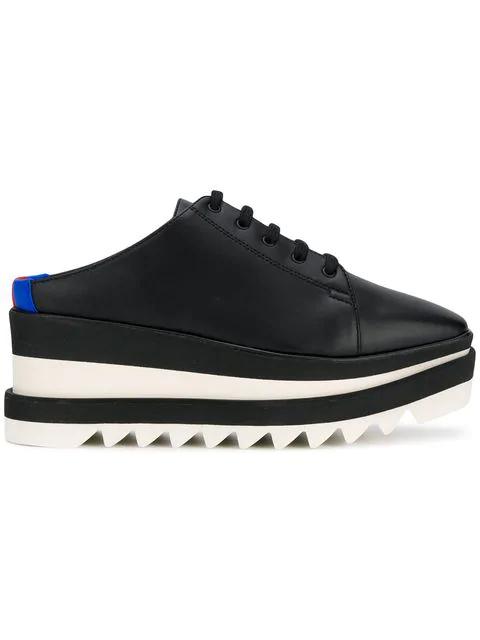 Stella Mccartney Sneak Elyse Platform Wedge Sneaker Mules In Black Modesens