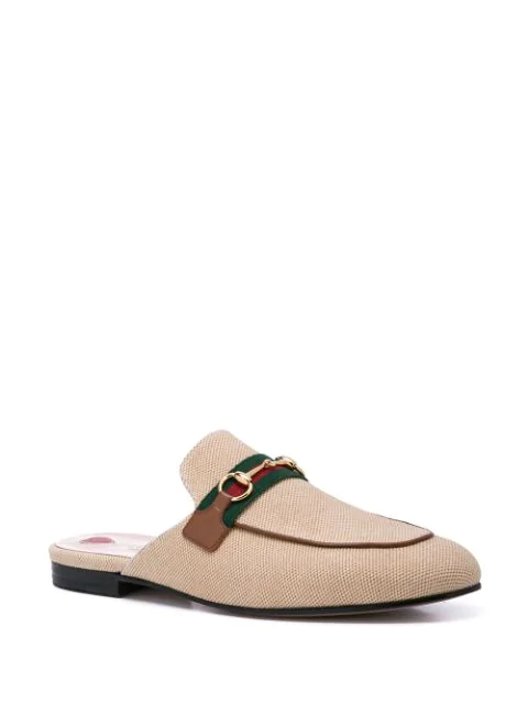 Gucci Princetown Canvas Slippers - Beige, Tan In Brown